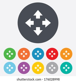 Fullscreen sign icon. Arrows symbol. Icon for App. Round colourful 11 buttons. Vector