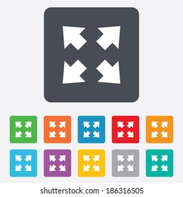 Fullscreen sign icon. Arrows symbol. Icon for App. Rounded squares 11 buttons. Vector