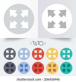 Fullscreen sign icon. Arrows symbol. Icon for App. Round 12 circle buttons. Shadow. Hand cursor pointer. Vector
