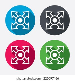 Fullscreen sign icon. Arrows symbol. Icon for App. Circle buttons with long shadow. 4 icons set. Vector