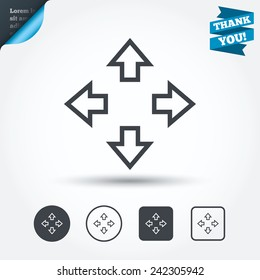 Fullscreen sign icon. Arrows symbol. Icon for App. Circle and square buttons. Flat design set. Thank you ribbon. Vector