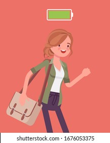 Fully charged active woman, power battery icon. Energetic young actively working girl in movement enjoying good health and mood, full of life, motivation. Vector flat style cartoon illustration
