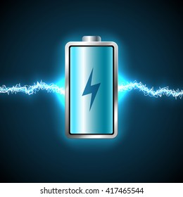 Fully charged blue battery and short circuit
