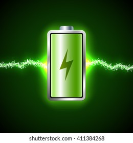 Fully charged green battery and short circuit. Concept of power and energy
