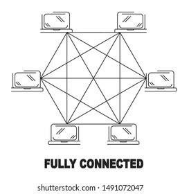 fully connected network topology vector black linear flat style icon