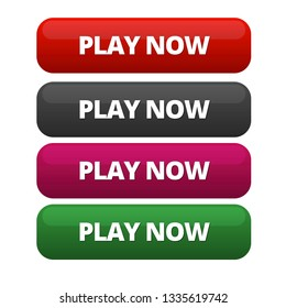 Fully editable four-colored call to action buttons. Red, black, purple and green colored Play Now vectored call to action buttons.