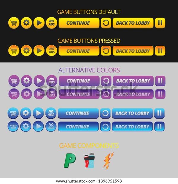 Fully Editable Game Ui Kit Alternative Stock Vector (Royalty