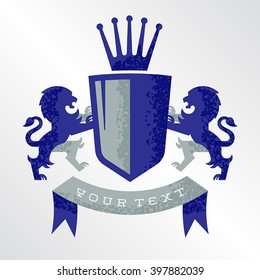 Fully editable grunge vector illustration of a royal family crest. There are lions on both sides of the shield and a crown on top. Perfect for your sports team or ancestry scrap book.