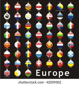 fully editable isolated european flags in christmas bulbs shape