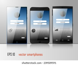 Fully editable vector concept of three different smart phones with modern user interface