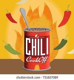 Fully editable vector illustration for a chili cook-off. Perfect for your private event or a corporate setting. Edit text to suit.
