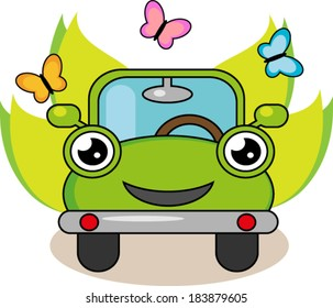 Fully editable vector illustration of eco car.