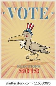 Fully editable vector illustration of old Uncle Sam raven