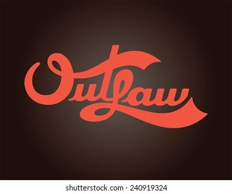 Fully editable vector illustration of outlaw biker typography.  Type is isolated on black background is suitable for shirt, jacket, or bike decals