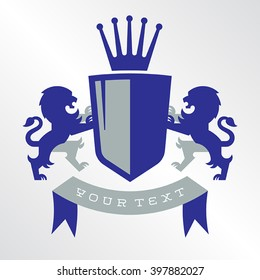 Fully editable vector illustration of a royal family crest. There are lions on both sides of the shield and a crown on top. Perfect for your sports team or ancestry scrap book.