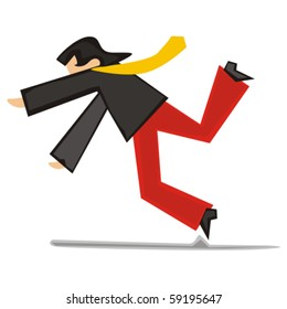 fully editable vector illustration of stylized man falling down