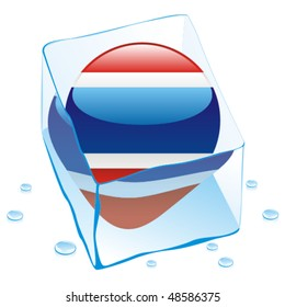 fully editable vector illustration of thailand button flag frozen in ice cube