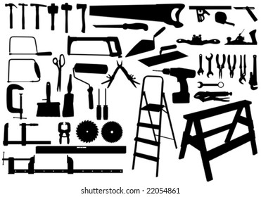Fully editable vector illustration of various tools in silhouette all tools on separate layers