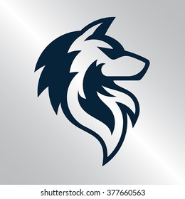 Fully editable vector illustration of a wolf logo.