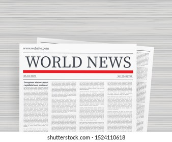 Fully editable whole newspaper in clipping mask. Vector mock up of a blank daily newspaper.