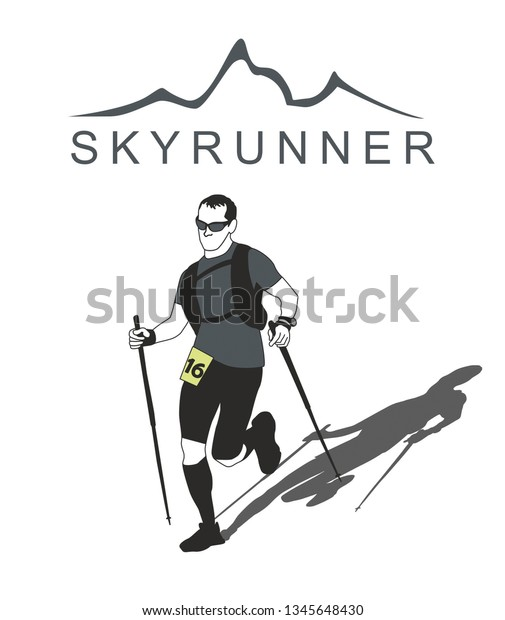 Fully equipped trail runner man with sticks runs down of mountains