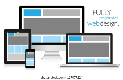 Fully responsive web design in electronic devices vector eps10