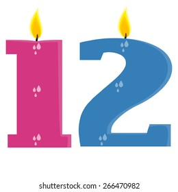 Fully vector set of stylized birthday candles (1,2), pink and blue
