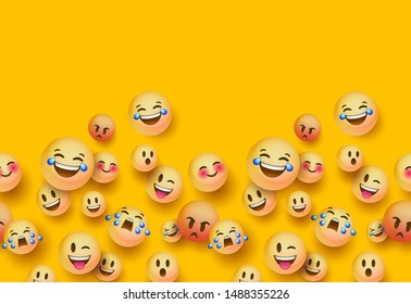 Fun 3d yellow emoticon face seamless pattern background with copy space. Social chat app icon wallpaper for modern online project or funny children product.
