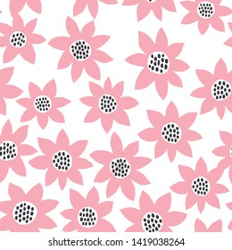Fun abstract flower repeat pattern. Vector and easy to edit background.