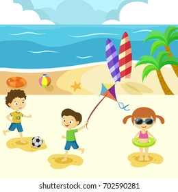 Fun and active game for  kids play on the beach in summer holiday.
