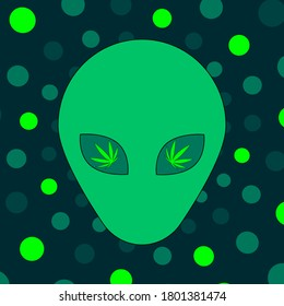 Fun alien head and cannabis leaves with geometric cirles background vector art.