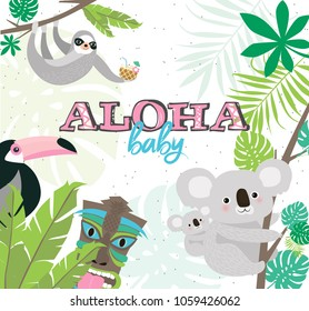 Fun Aloha baby poster with cartoon animals for baby shower or birthday party. Editable vector illustration