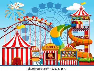 Fun amusement park template illustration