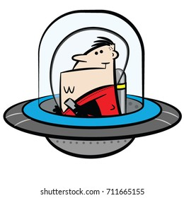 Fun astronaut in strong colors. Cartoon vector spaceman on a white background.