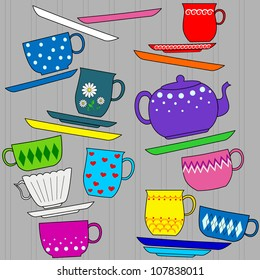 Fun background with colorful cups, mugs, teapot