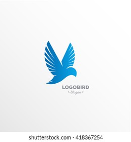 Fun, beauty, isolated, cartoon calibri flutters in the air, rectangular vector shape, minimalism, flat stylized logotype, blue bird, hummingbirds, eagle, dove, wings, feathers, tail, beakelement logo.