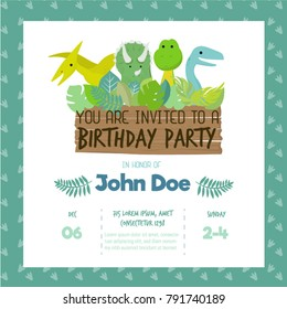 Fun Birthday Card with dinosaurs. Vector illustration.