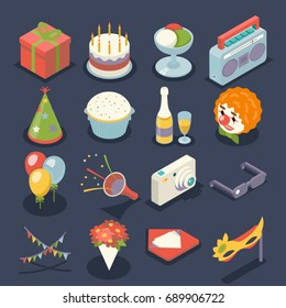 Fun Birthday Party Event Celebrate Night Icons Symbols Holiday Set 3d Isometric Flat Design Vector Illustration