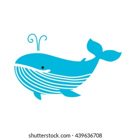 Fun Blue whale  icon. Cartoon whale baby vector illustration