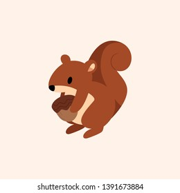 Fun Brown Spring Squirrel with Modern Flat Design Style Holding Peanuts