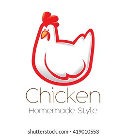 Fun cartoon chicken vector icon illustration.