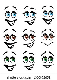 Fun cartoon emoji faces with happy expressions, with blue, brown and green eyes and expressive eyebrows.