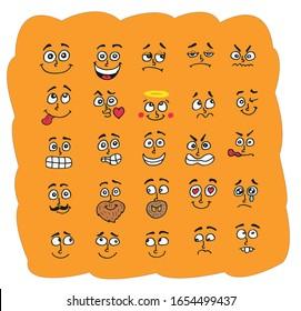 fun cartoon facial expressions. vector. hand draw. set draw cartoon face.