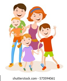Fun cartoon family in colorful stylish clothes. Father, mother and children, all together one family