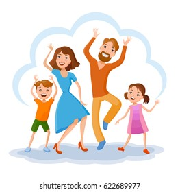 Fun cartoon family in colorful stylish clothes. Father, mother and children, daincing all together one family