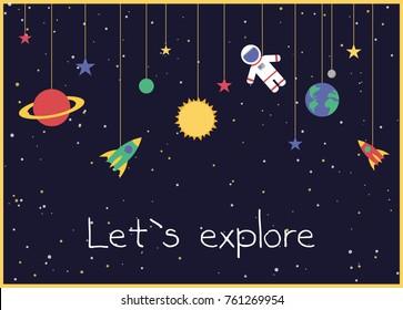 Fun cartoon galaxy card design