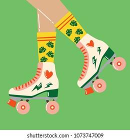 Fun cartoon illustration with roller skates