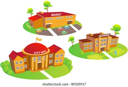 Fun cartoon map elements: city hall, school, market, trees. Each building and  ground are in the separate layer. (set 2)