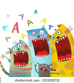 Fun Cats and Mouse Karaoke Singing Song. Cats and rat song singing mouth open. Vector illustration.