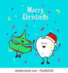 Fun characters Christmas tree and a cute tooth. Congratulations on Christmas. Poster of holiday dental
